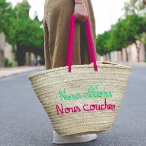 panier sac plage personnalisé Nous allons nous coucher ©original-marrakech
