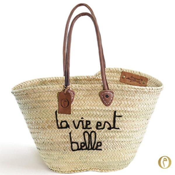 panier marocain sac plage personnalisé La vie est belle ©original-marrakech