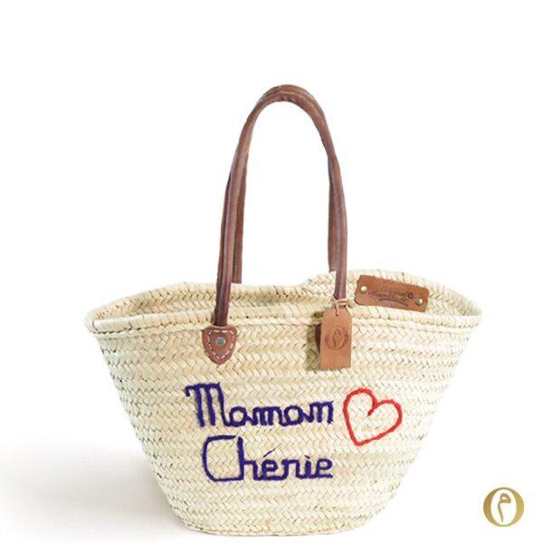 Panier plage marocain cabas brode sac personnalisé Maman Chérie ©original-marrakech