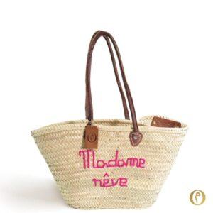 Panier plage sac cabas personnalisé brode Madame rêve ©original-marrakech
