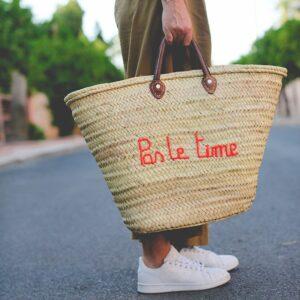 Panier sac personnalisé Pas le time ©original-marrakech
