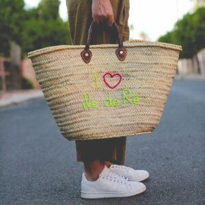 Panier marocain personnalisé vegan I love ile de Ré ©original-marrakech