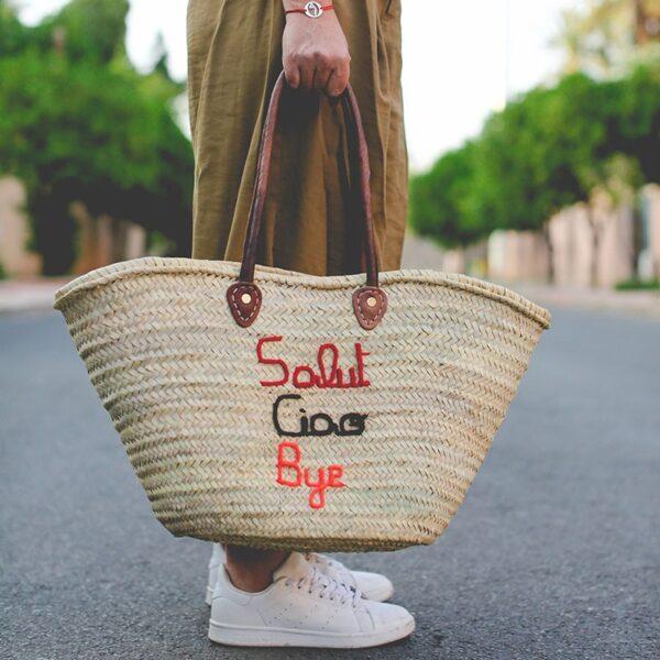Panier sac personnalisé Salut Ciao Bye ©original-marrakech
