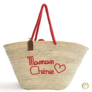 Panier sac plage brode maroc personnalisé Maman Chérie ©original-marrakech