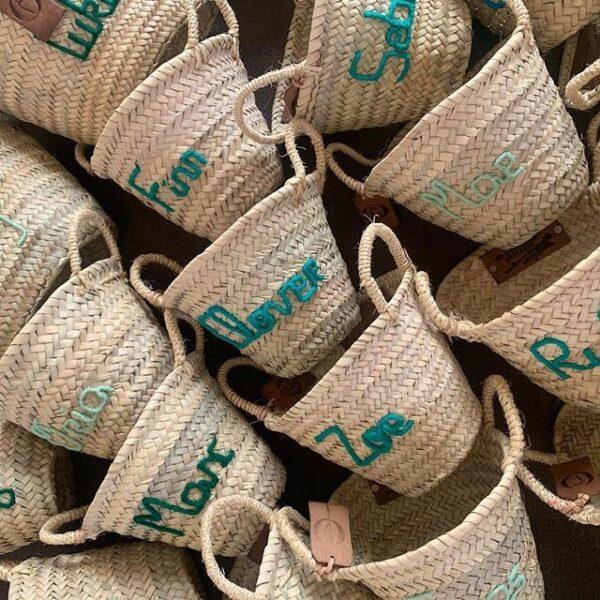 panier personnalisé corbeille bébé prénom brodé broderie personnalisation maroc ©original-marrakech