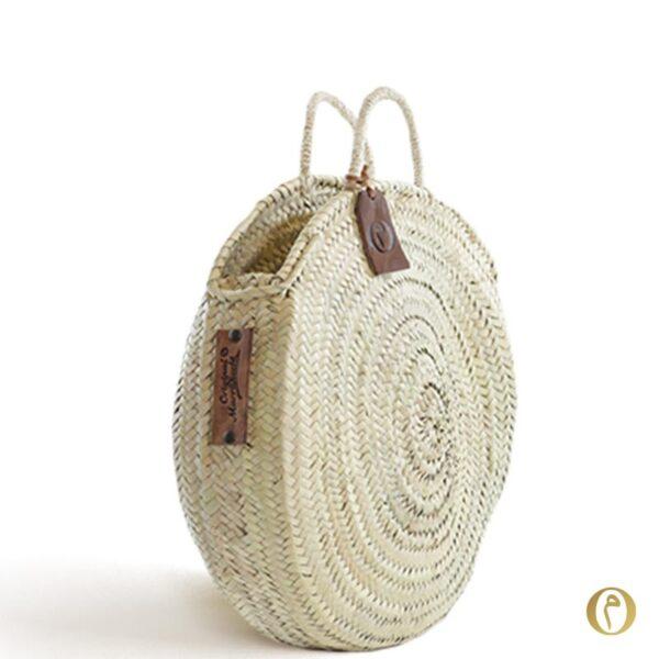 Panier rond marocain broderie sac cabas paille nature à personnaliser ©original-marrakech