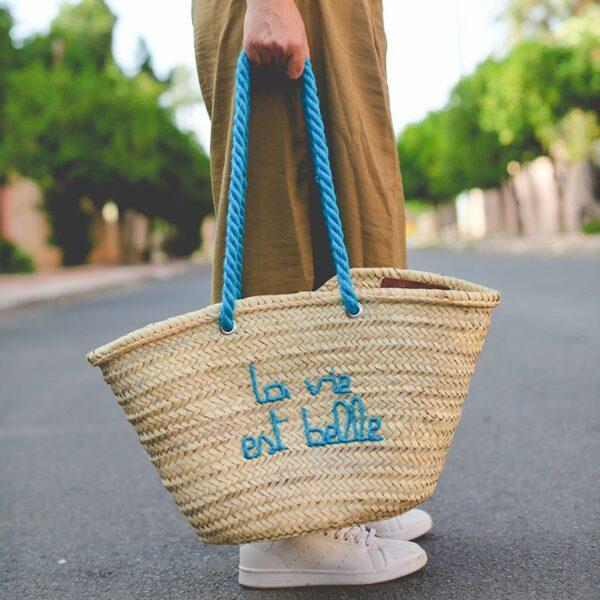 Panier sac personnalisé La vie est belle ©original-marrakech