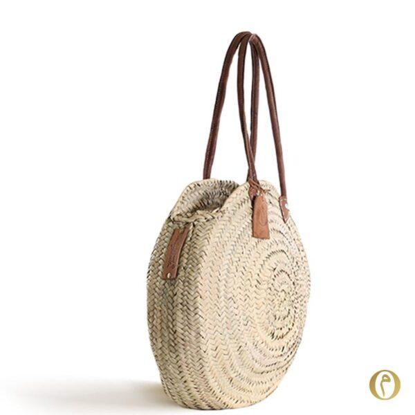 panier plage rond à personnaliser brode sac en paille anses cuir ©original-marrakech