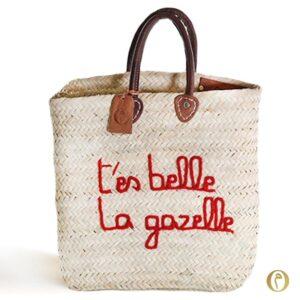 panier marocain rectangle sac marché t'es belle la gazelle expression brode personnalisé ©original-marrakech