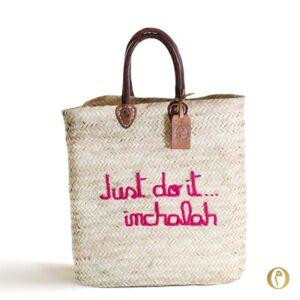 panier marocain rectangle brodé personnalisé paille sac marché Just do it inchalah ©original-marrakech