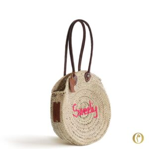panier rond plage paille personnalise brode maocain paille sweety rose ©original-marrakech